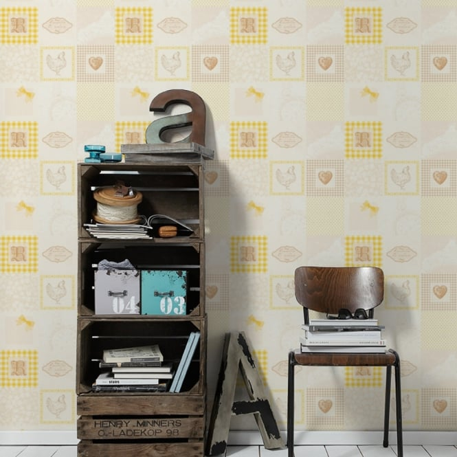 A.S. Creation AS Creation Patchwork Pattern Wallpaper Kitchen Tartan Polka Dot Chicken 327322