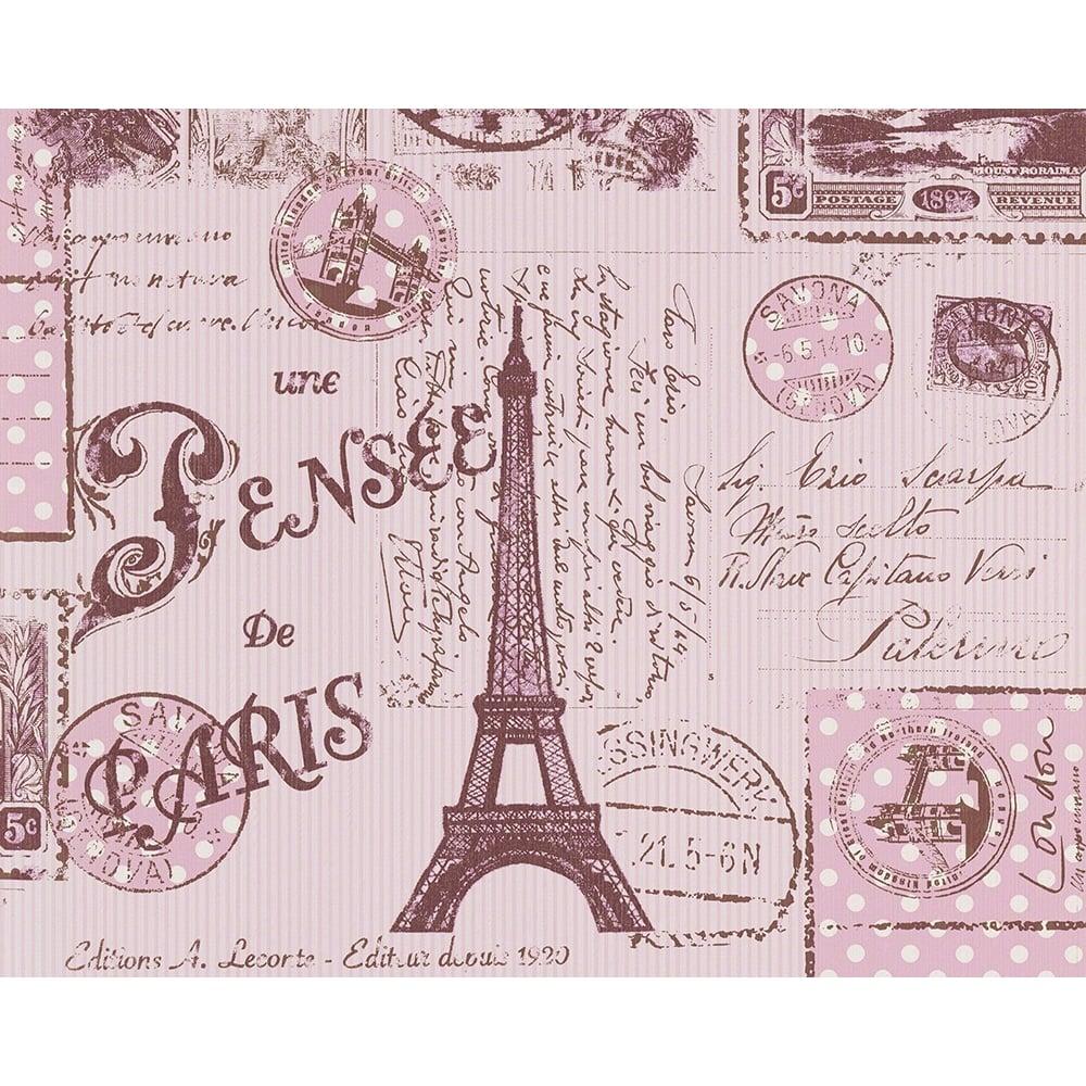 As Creation Pink Paris Pattern Eiffel Tower Childrens