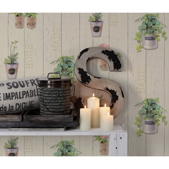 A.S. Creation AS Creation Plant Pot Pattern Wallpaper Distressed Wood Panel Beam Flowers 336361