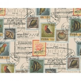 AS Creation Postage Stamp Pattern Bird Fish Motif Vinyl Wallpaper 958991