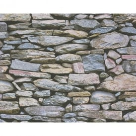 AS Creation Rustic Slate Stone Wall Pattern Photo Realistic Embossed Vinyl Wallpaper 958201