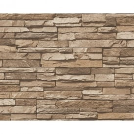 AS Creation Slate Brick Wall Pattern Faux Effect Embossed Vinyl Wallpaper 958332