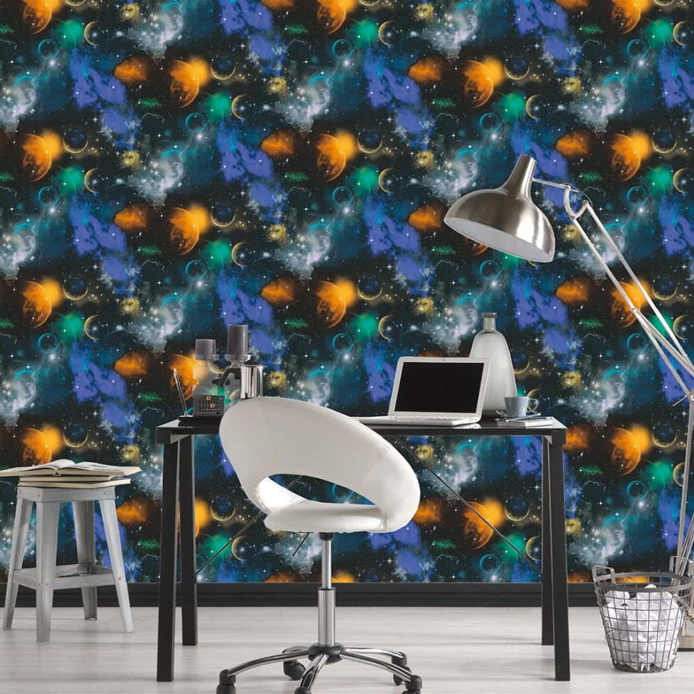As Creation Space Planets Stars Pattern Childrens Wallpaper Glow In