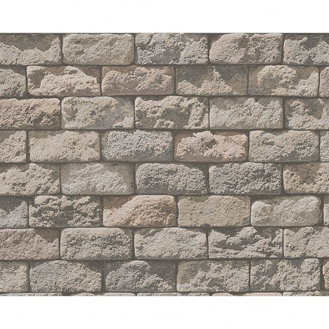 A.S. Creation AS Creation Stone Brick Pattern Realistic Photo Embossed Vinyl Wallpaper 958342