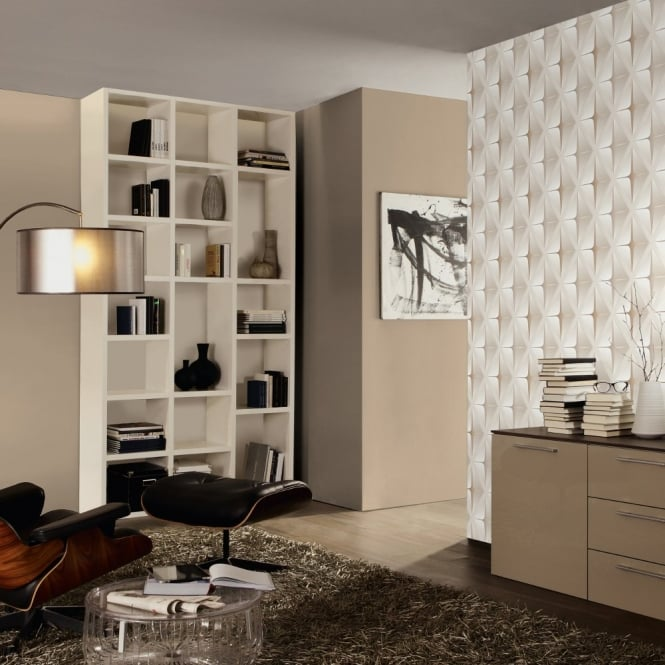A.S. Creation AS Creation Striped Square Pattern 3D Effect Embossed Non Woven Wallpaper 960411
