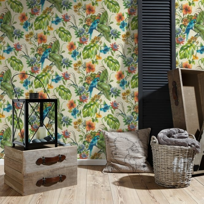 A.S. Creation AS Creation Tropical Leaf Pattern Wallpaper Parrot Motif Floral Embossed Vinyl 300151