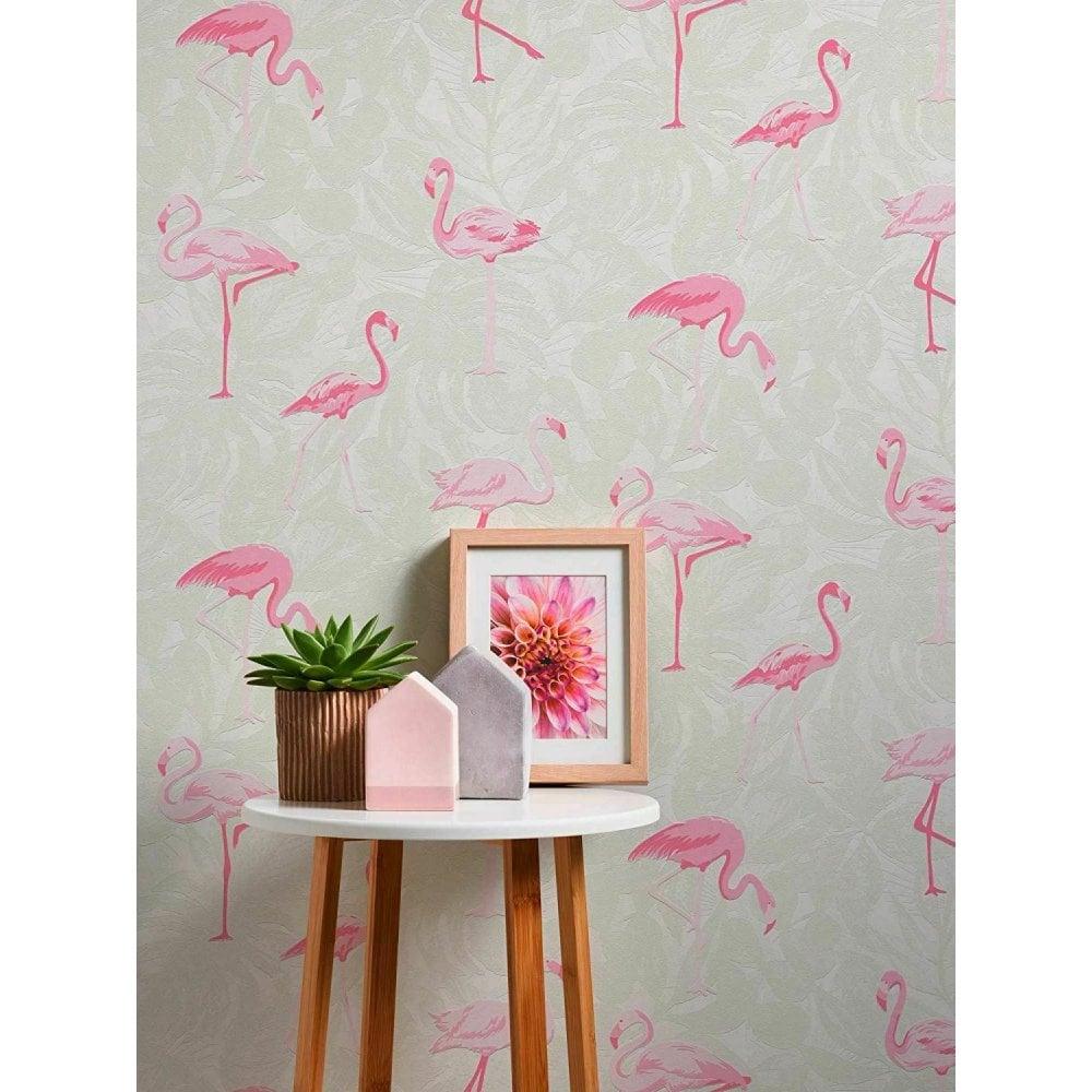 As Creation Tropical Pink Flamingo Bird Leaves Wallpaper Embossed