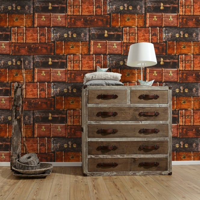 A.S. Creation AS Creation Vintage Luggage Pattern Wallpaper Retro Suitcase Faux Effect Textured 339831