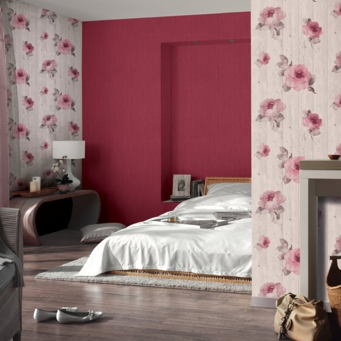 A.S. Creation AS Creation Wood Beam Panel Flower Pattern Faux Effect Floral Wallpaper 961122