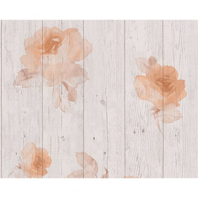 A.S. Creation AS Creation Wood Beam Panel Flower Pattern Faux Effect Floral Wallpaper 961123