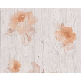 AS Creation Wood Beam Panel Flower Pattern Faux Effect Floral Wallpaper 961123