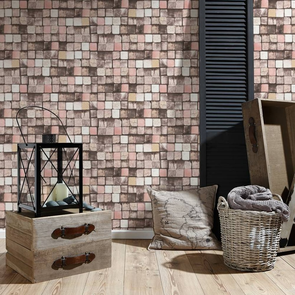 as creation wood block pattern wallpaper faux effect square embossed texture 344522