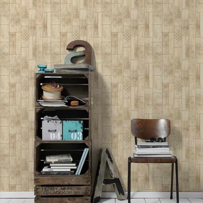 A.S. Creation AS Creation Wood Panel Pattern Wallpaper Kitchen Bathroom Tribal Motif 330894