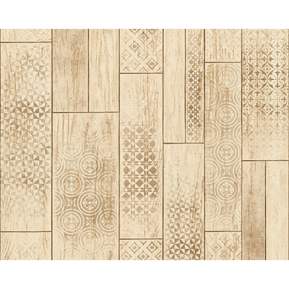 AS Creation Wood Panel Pattern Wallpaper Kitchen Bathroom Tribal