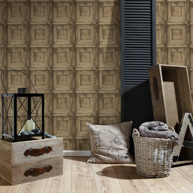 A.S. Creation AS Creation Wooden Square Pattern Wallpaper Wood Faux Effect Embossed 307501