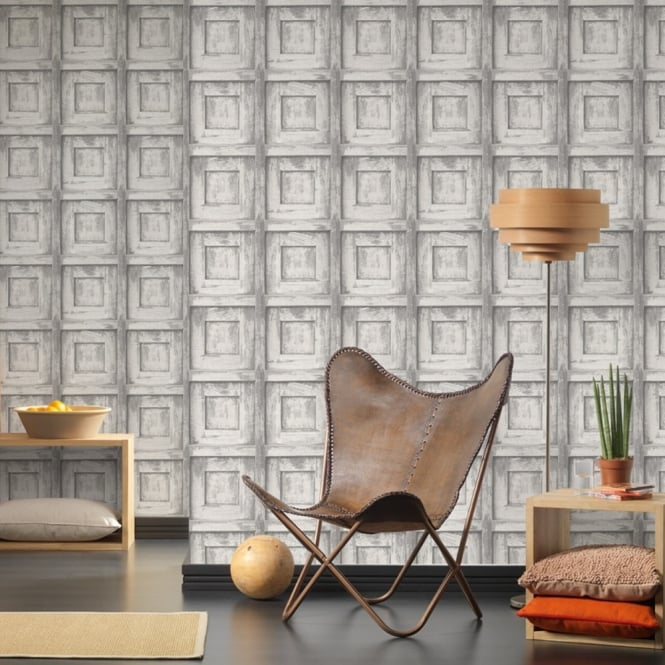 A.S. Creation AS Creation Wooden Square Pattern Wallpaper Wood Faux Effect Embossed 307502