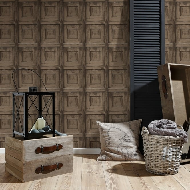 A.S. Creation AS Creation Wooden Square Pattern Wallpaper Wood Faux Effect Embossed 307503