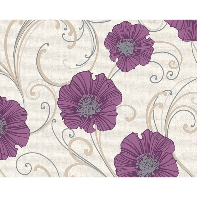 A.S. Creation Chicago Floral Pattern Flower Motif Metallic Glitter Wallpaper 332721