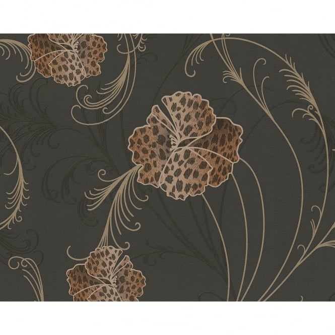 A.S. Creation Chicago Floral Pattern Leopard Flower Motif Textured Vinyl Wallpaper 935314