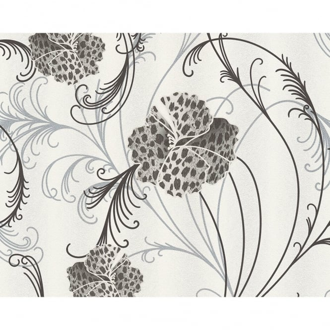 A.S. Creation Chicago Floral Pattern Leopard Flower Motif Textured Vinyl Wallpaper 935315