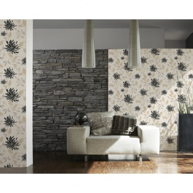 A.S. Creation Hollywood Floral Leaf Pattern Motif Textured Wallpaper 957163