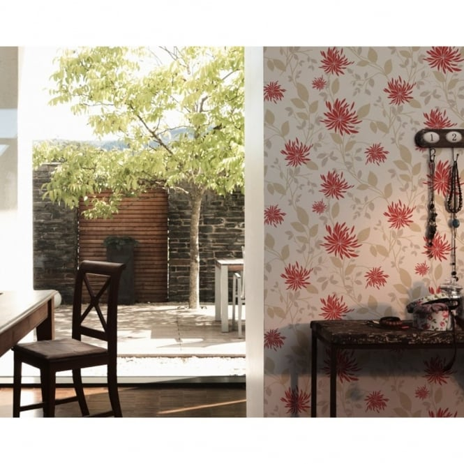 A.S. Creation Hollywood Floral Leaf Pattern Motif Textured Wallpaper 957164