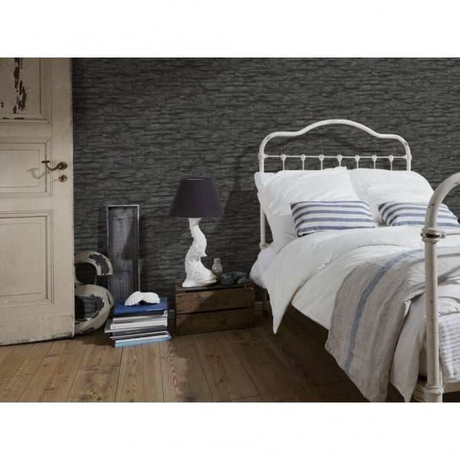 A.S. Creation Wood N Stone Black Slate Wall Effect Wallpaper 707123