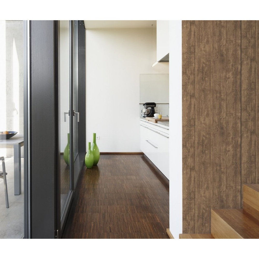 As Creation Wood N Stone Brown Wooden Panel Effect Wallpaper