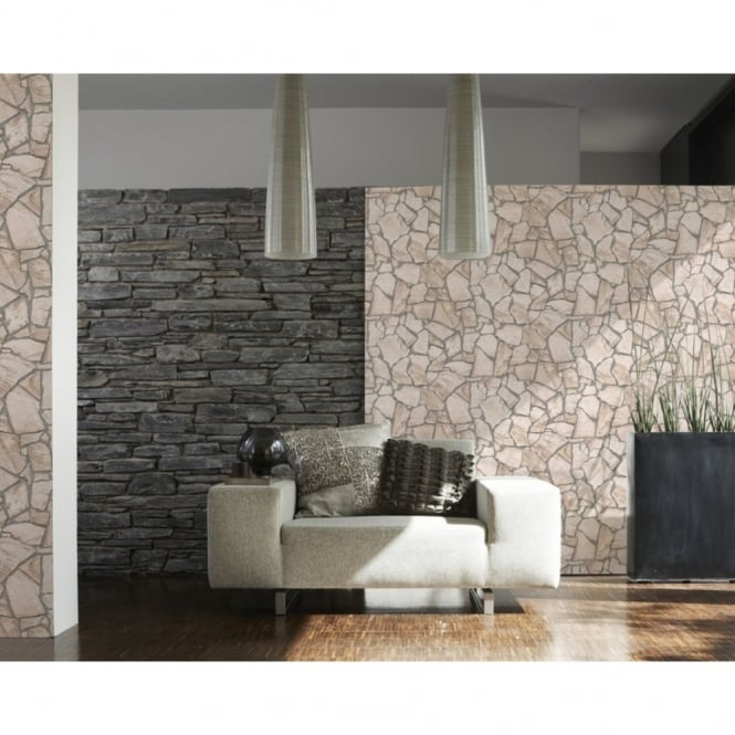A.S. Creation Wood N Stone Rural Cottage Natural Stone Wallpaper 927323