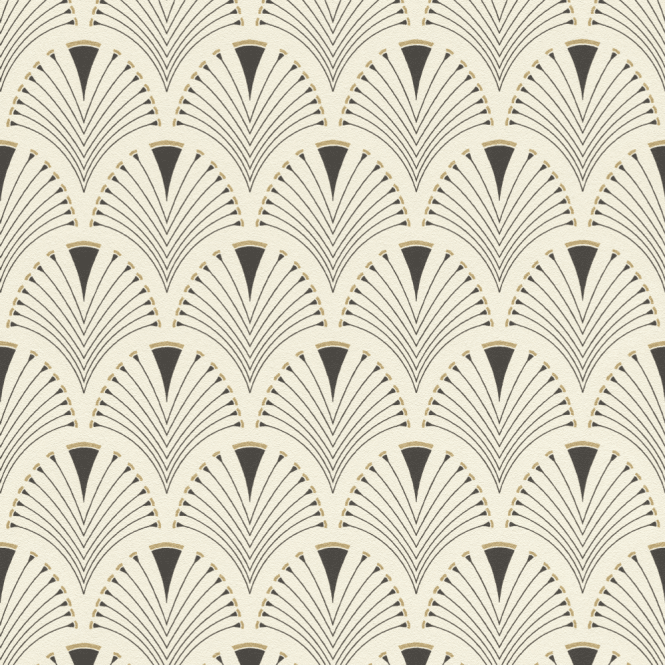 Art Deco Fan Black Metallic Gold Non Woven Abstract Peacock Wallpaper 433210