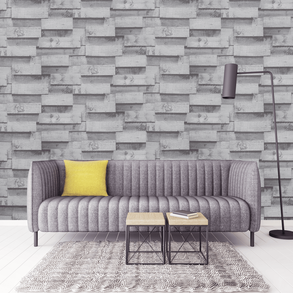 Arthouse 3d Wooden Beam Charcoal Silver Faux Wood Block Pattern Wallpaper Exclusive 901606