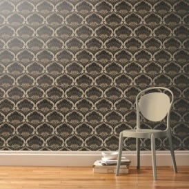 A Shade Wilder Pavonis Macaroon Ogee Damask Pattern Wallpaper Metallic 300079
