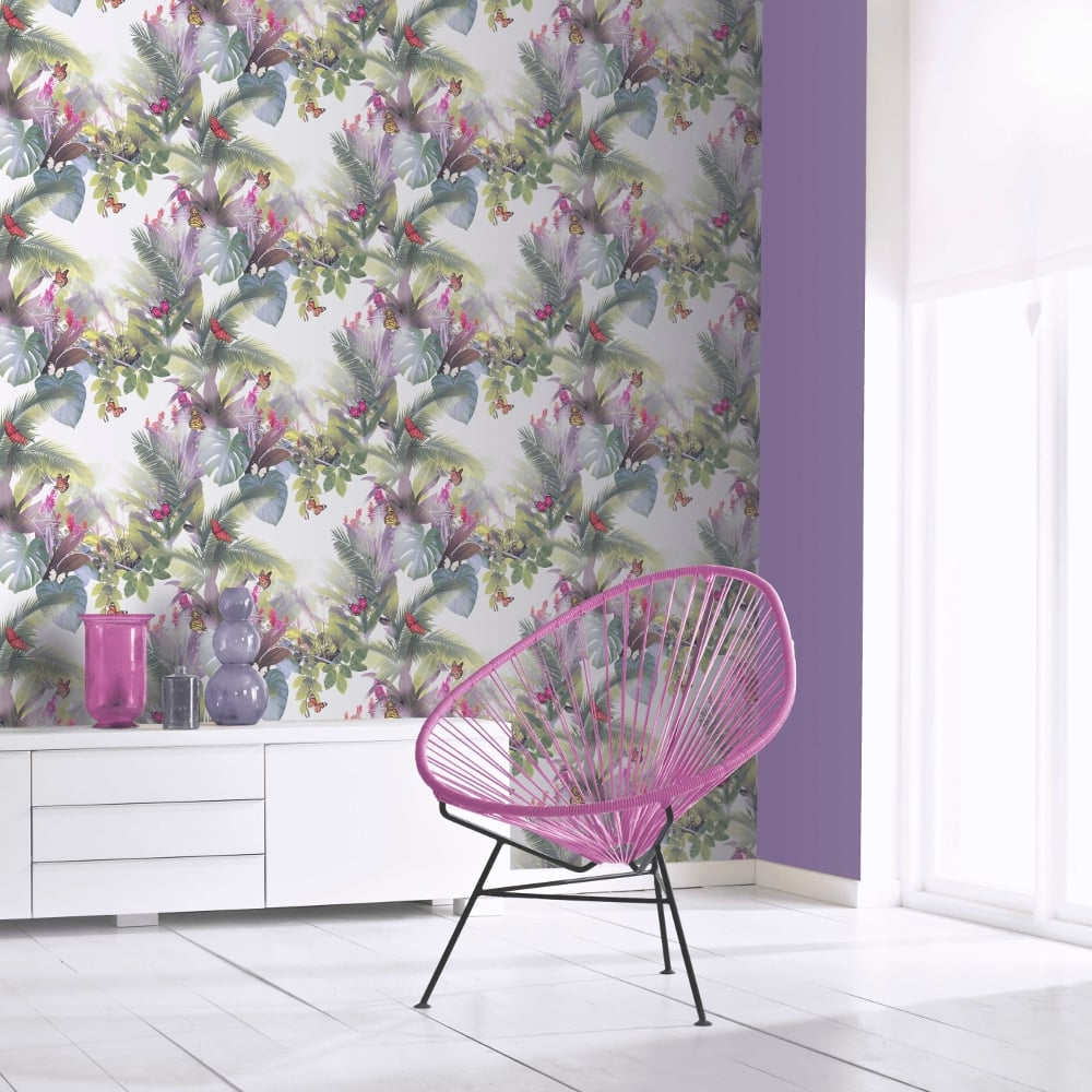 Arthouse Amazonia Butterfly Pattern Wallpaper Forest Leaf