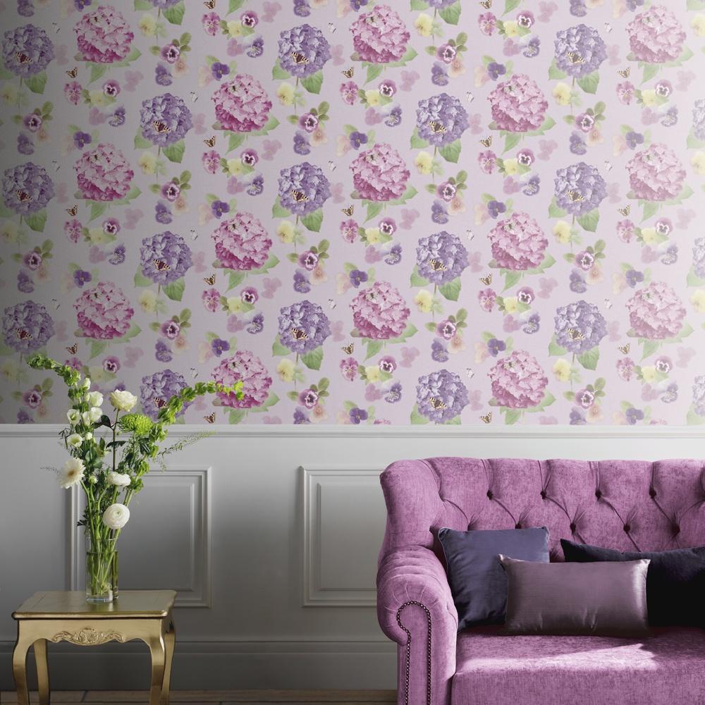 Floral Room Wallpaper: Lilac Wallpaper Living Room