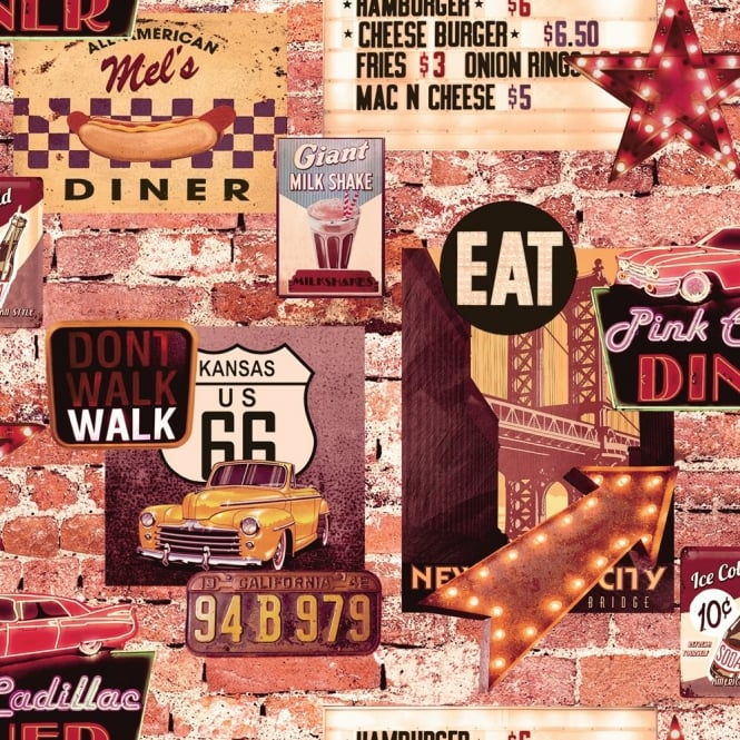 665x665px american diner wallpaper wallpapersafari. Black Bedroom Furniture Sets. Home Design Ideas