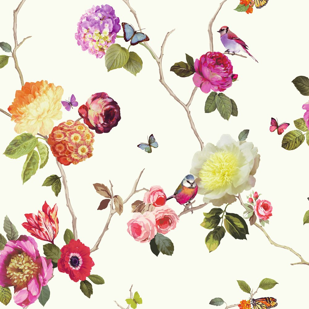 Arthouse flower pattern bird butterfly floral motif for Floral wallpaper for home