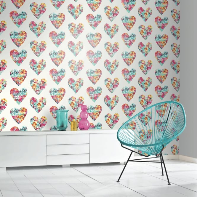 Arthouse Clara Heart Pattern Wallpaper Modern Floral Flower Metallic Motif 675500