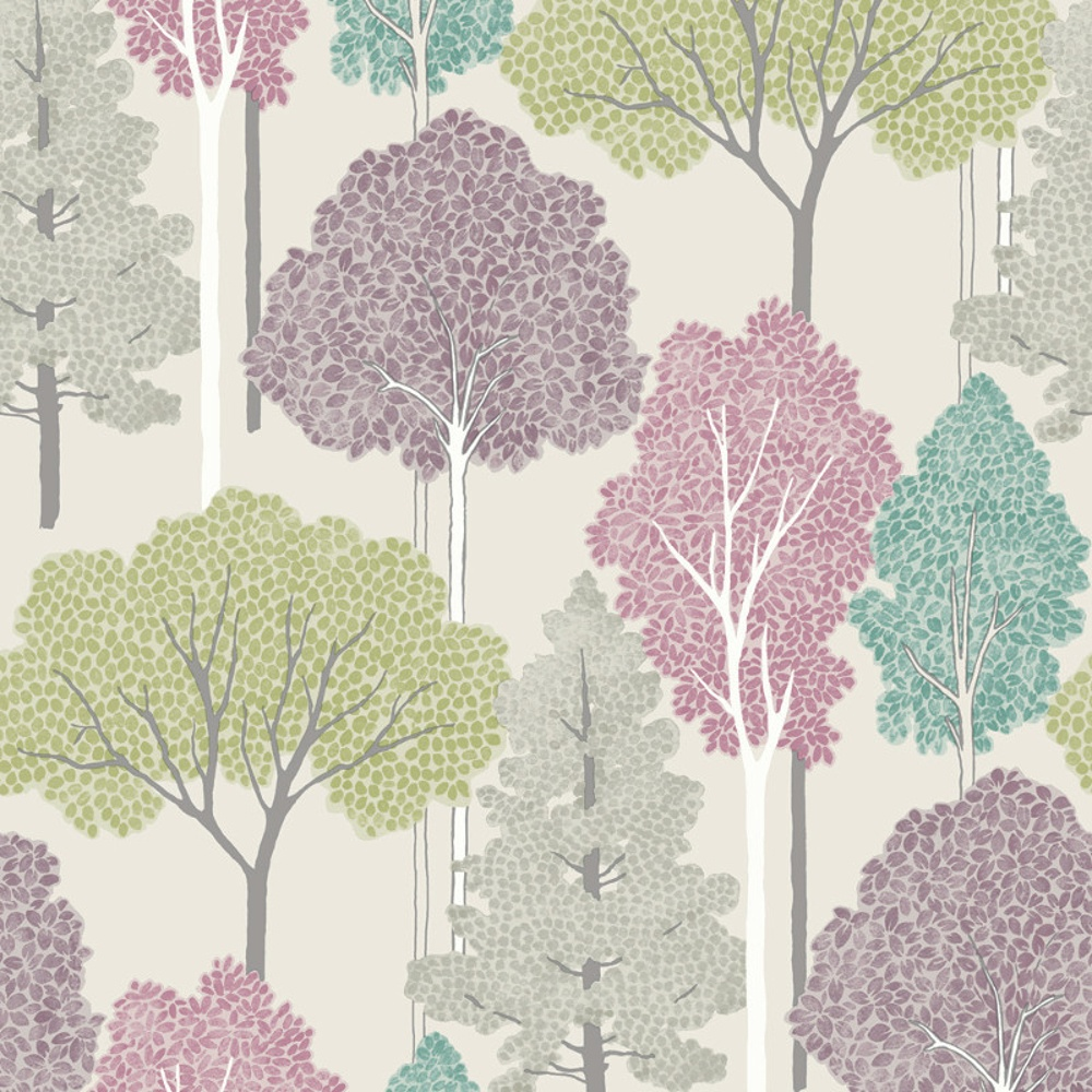 Arthouse ellwood tree pattern forest leaves glitter for Tree wallpaper for home