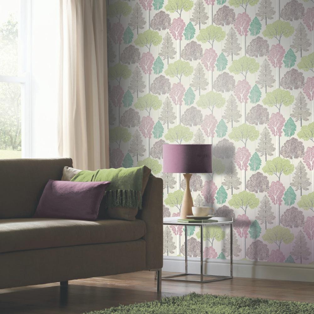 Arthouse ellwood tree pattern forest leaves glitter - Art house wallpaper uk ...