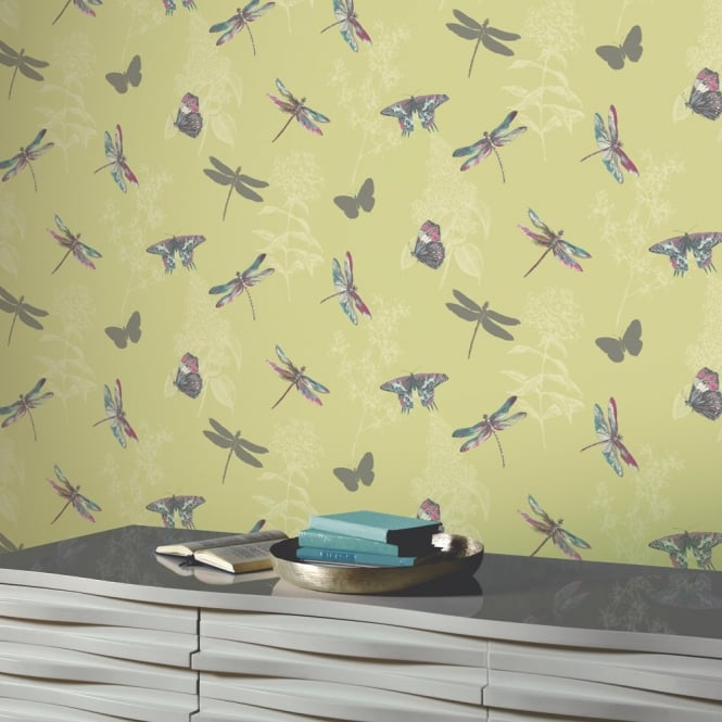 Arthouse Enchanted Wings Floral Pattern Butterfly Dragonfly Motif Wallpaper 664900