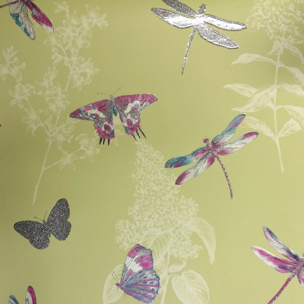 Arthouse floral pattern butterfly dragonfly motif - Papeles pintados vintage ...