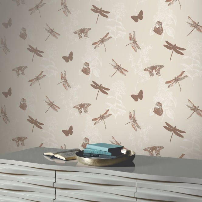 Arthouse Enchanted Wings Floral Pattern Butterfly Dragonfly Motif Wallpaper 664901