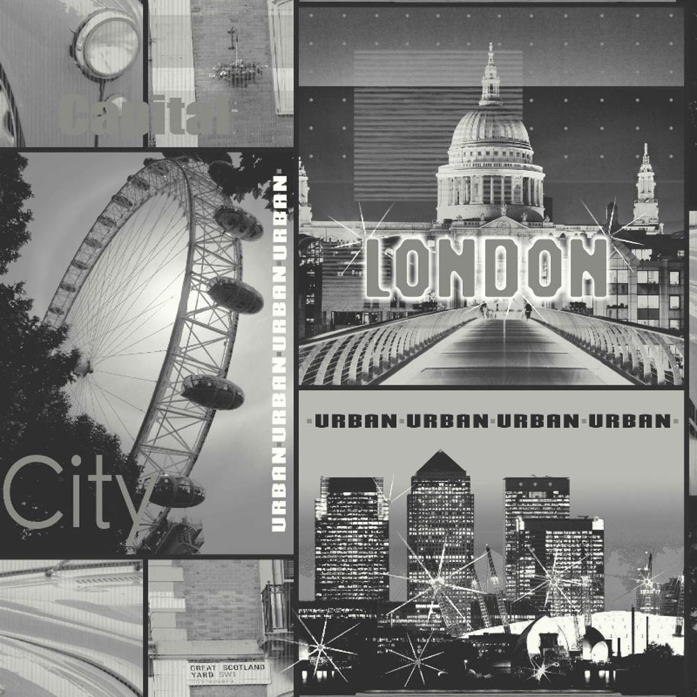 Arthouse glitter london motif black white photo mural for Black and white london mural wallpaper