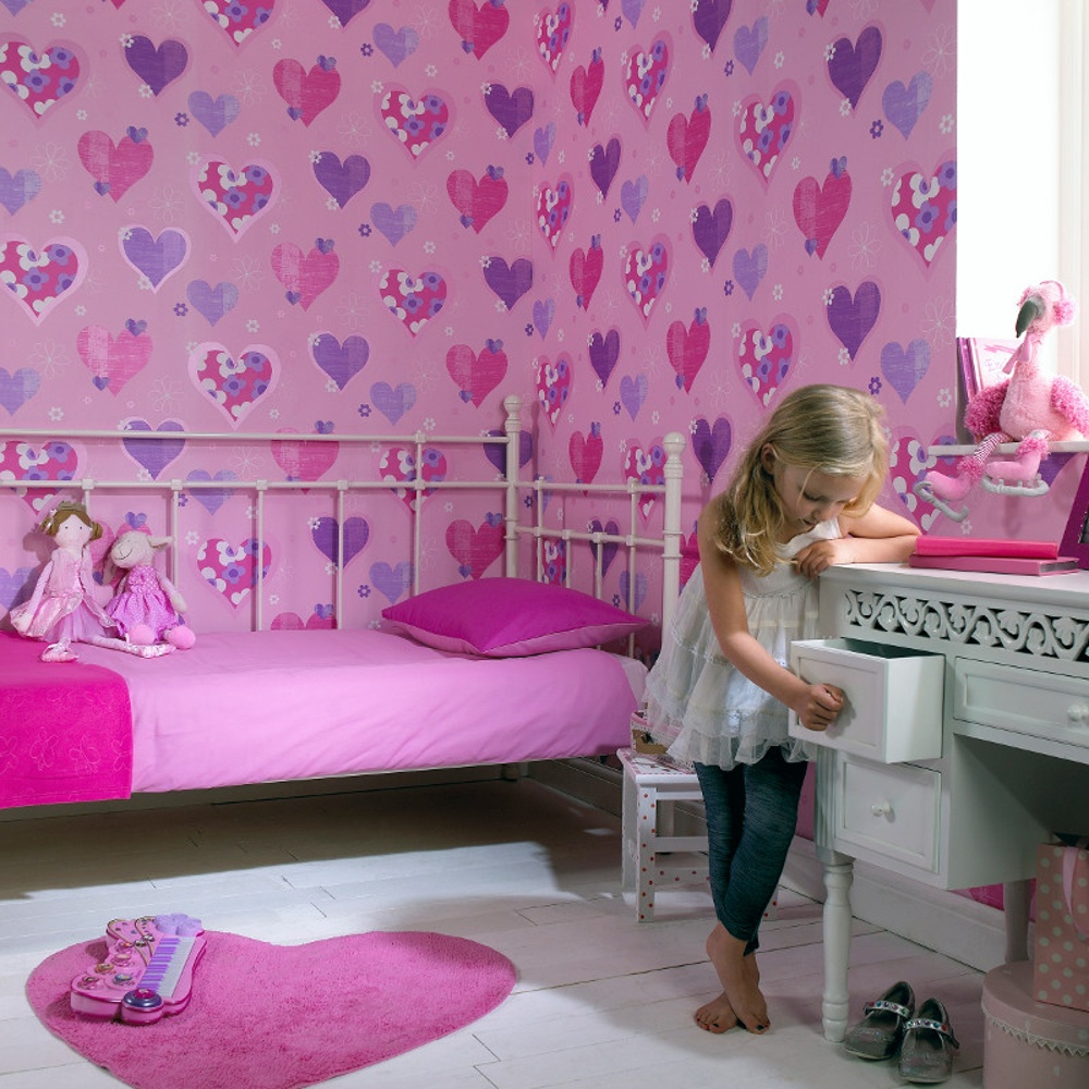 Arthouse happy hearts flowers childrens kids bedroom Wallpaper for childrens room