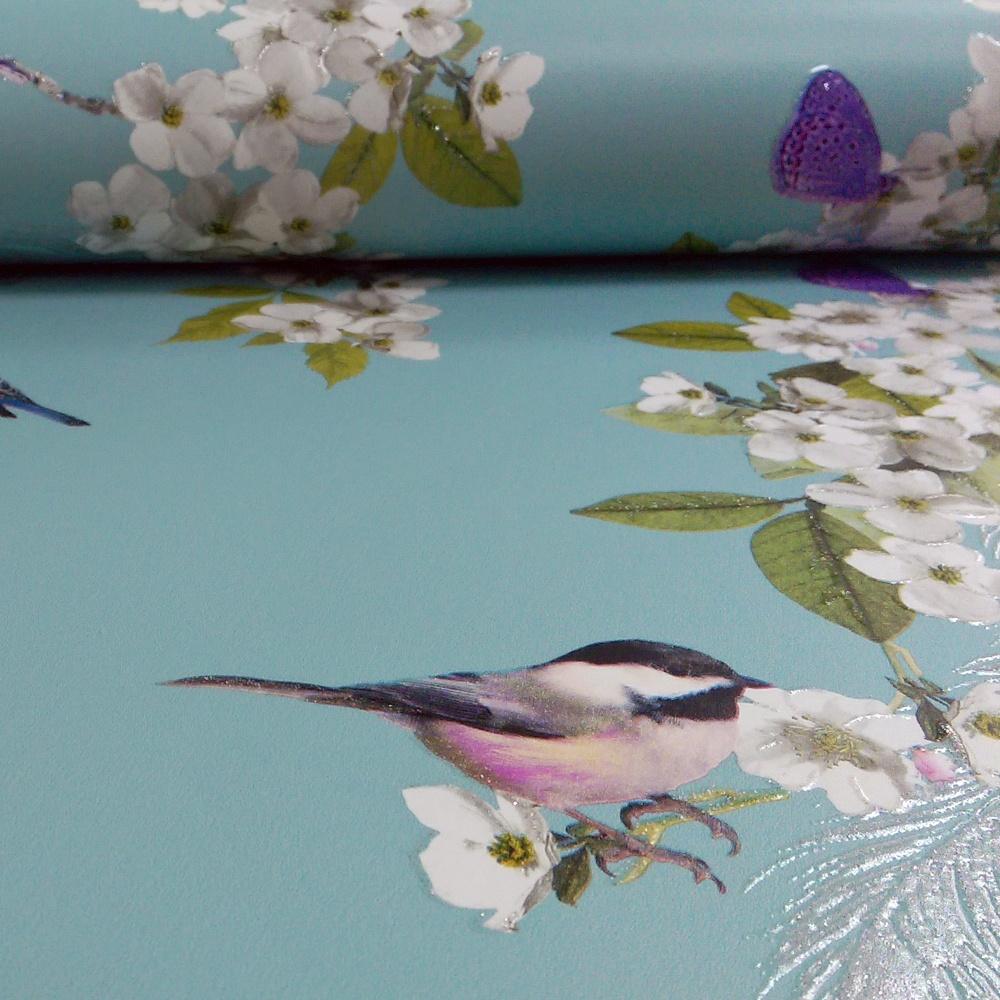 Arthouse mitzu floral pattern bird butterfly glitter - Art house wallpaper uk ...