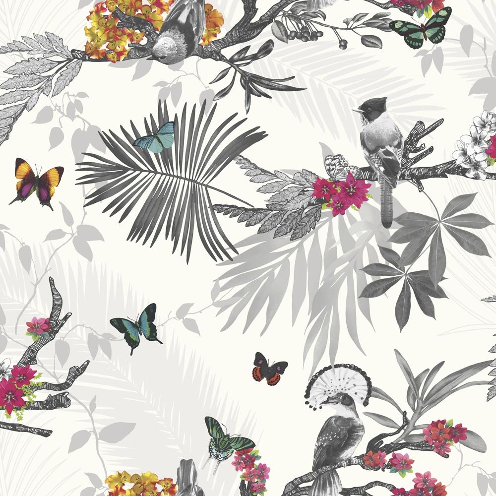 Arthouse Floral Leaf Pattern Bird Butterfly Motif