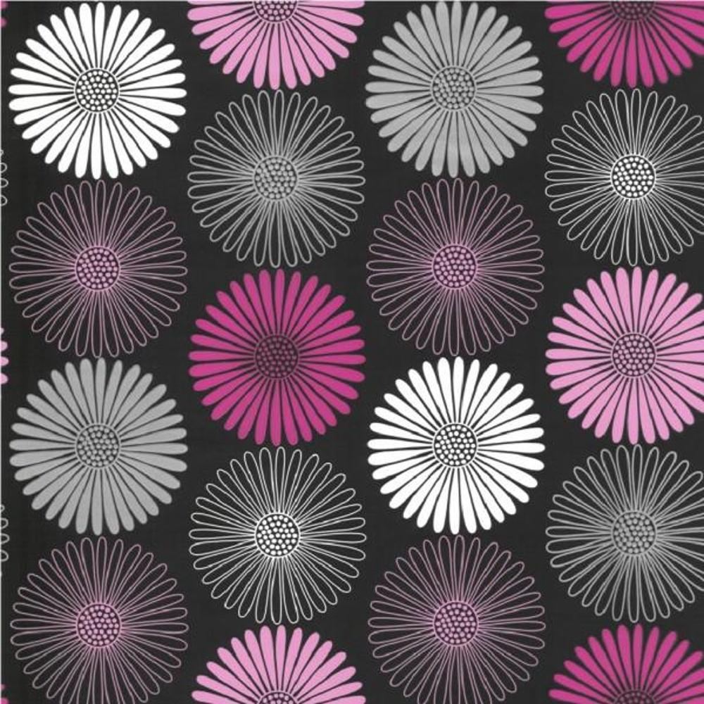 Wallpaper Black Pink: Arthouse Opera Daisy Floral Pink Black Metallic 10m
