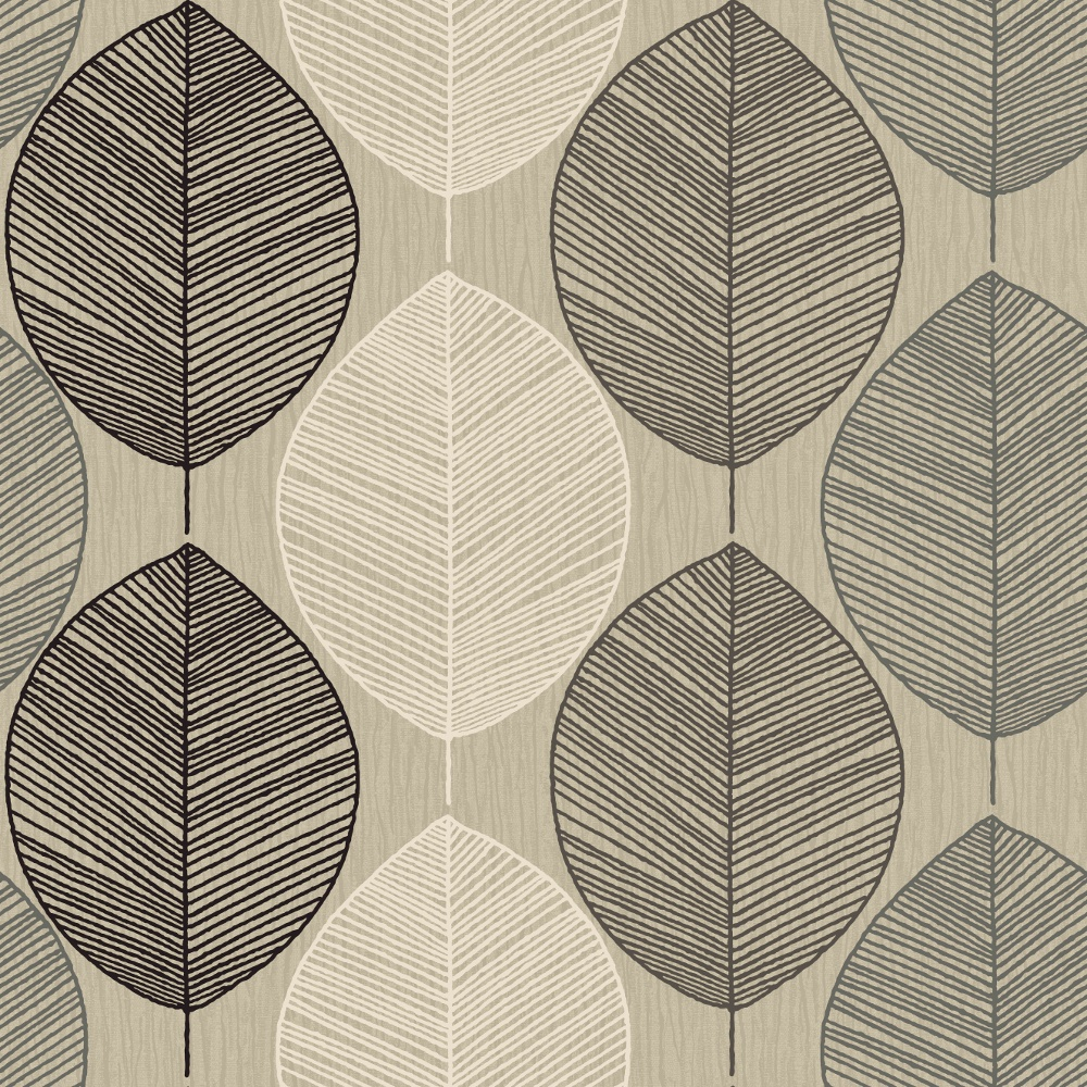 Arthouse retro leaf pattern leaves motif designer for Modern wallpaper uk