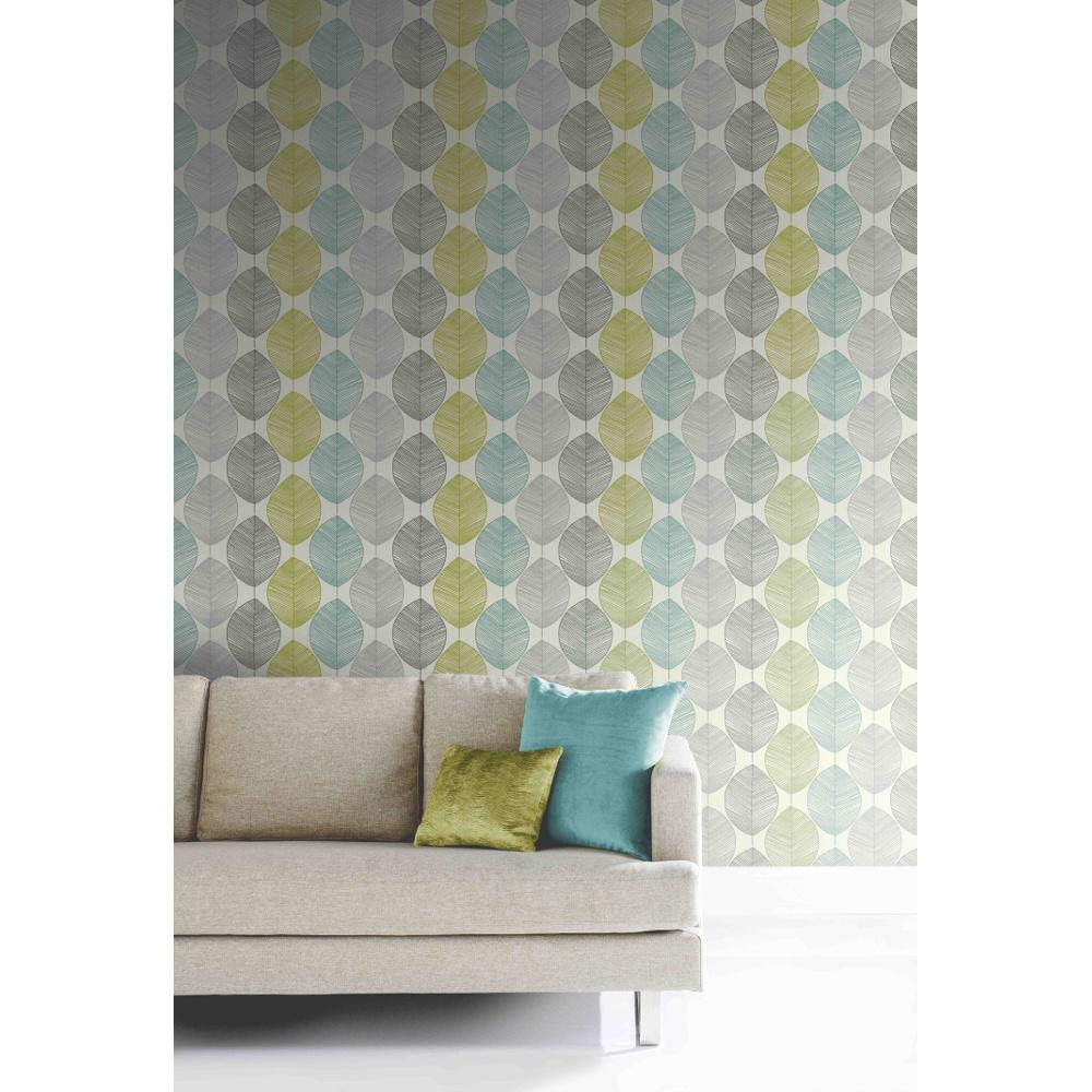 Arthouse retro leaf pattern leaves motif designer for Wallpaper homebase green