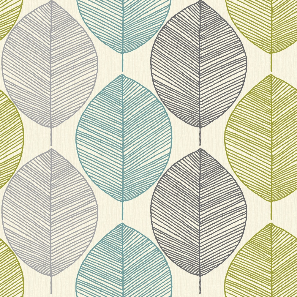 Arthouse retro leaf pattern leaves motif designer for Designer wallpaper uk